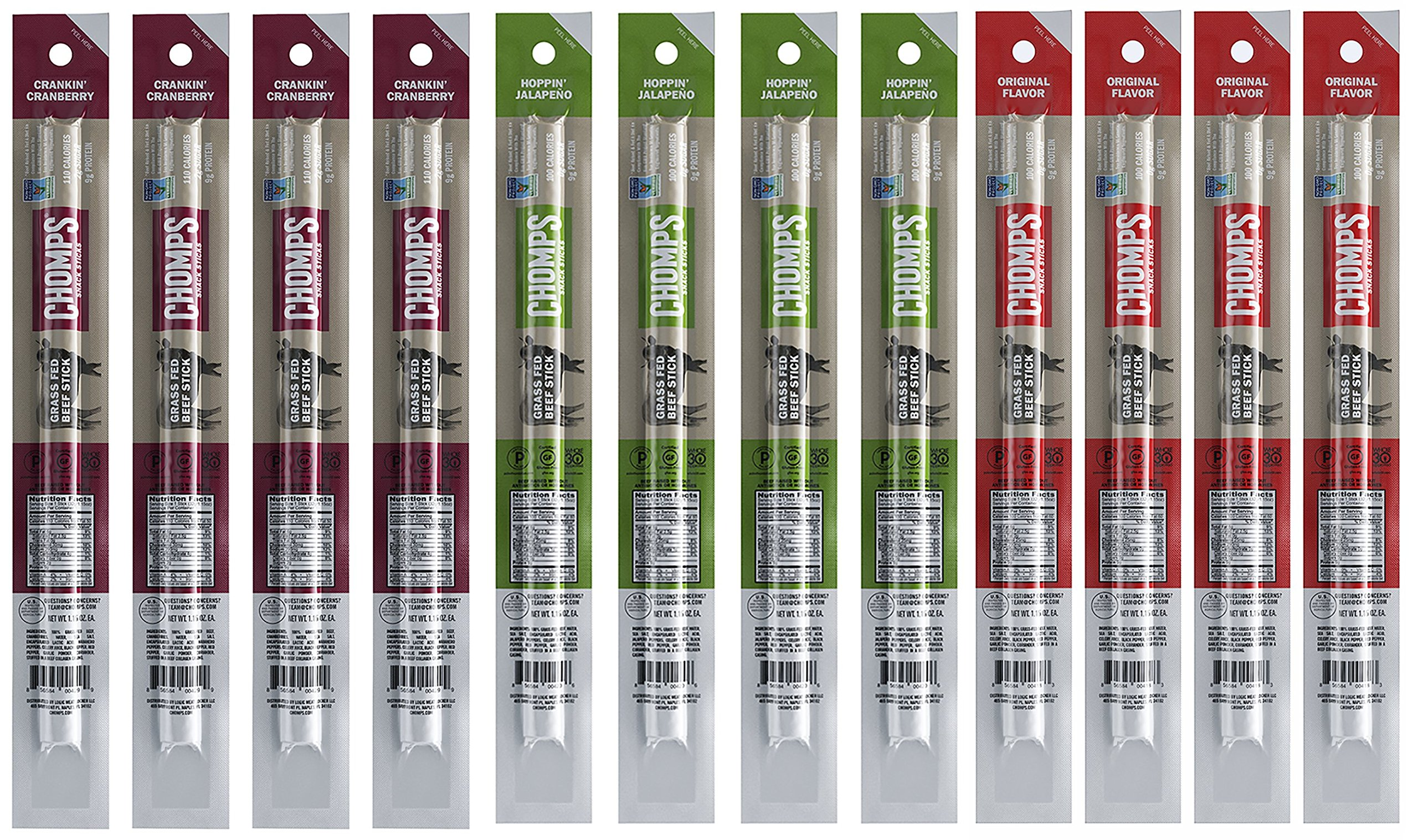 Chomps 100% Grass Fed Beef Snack Jerky Sticks Whole30 Variety Pack of 12, 3 Different Flavors