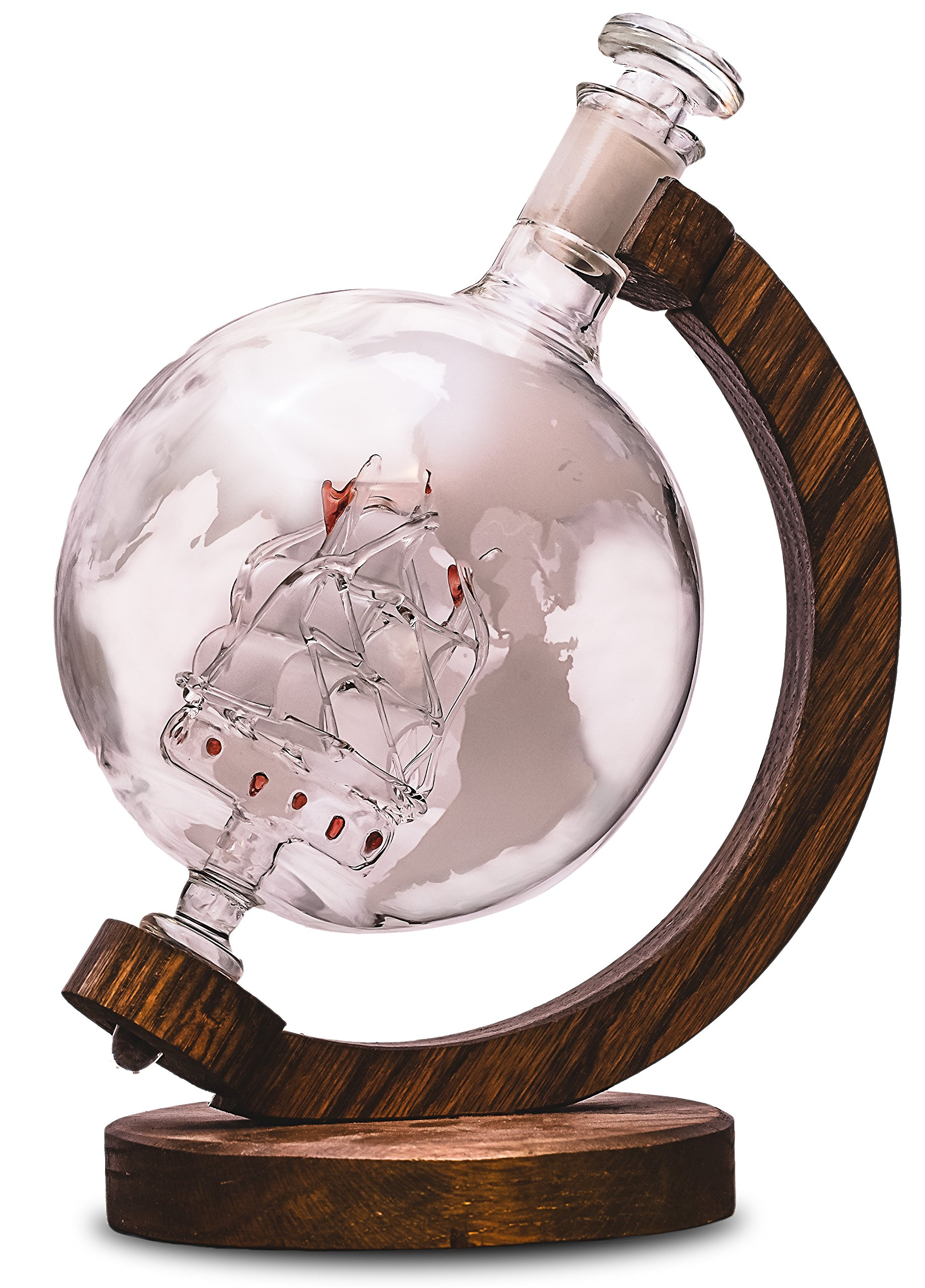 Etched Globe Liquor Decanter - Scotch Whiskey Decanter - 1000ml Glass Decanter for Alcohol - Vodka, Bourbon, Rum, Wine, Tequila or Mouthwash - Prestige Decanters (Magellan's Victoria)