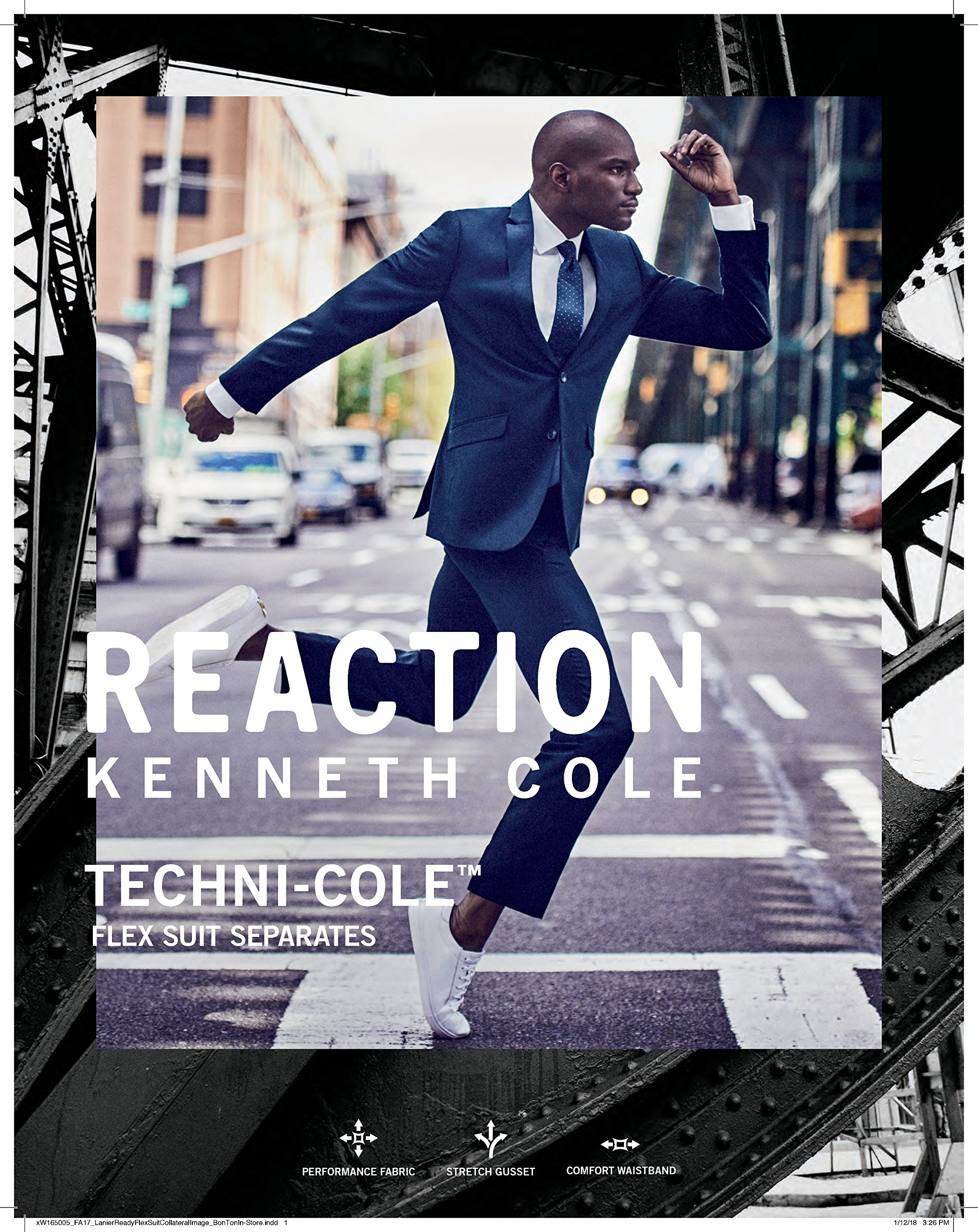 Kenneth Cole REACTION Men's Techni-Cole Stretch Slim Fit Suit Separate Blazer (Blazer, Pant, and Vest), Modern Blue, 48 Long by Kenneth Cole REACTION (Image #4)