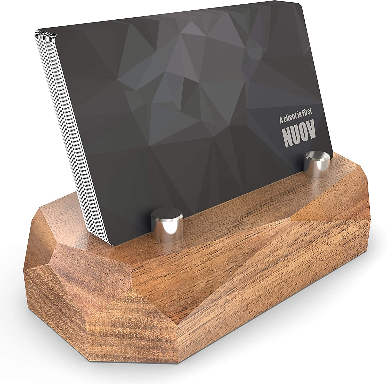NUOV Business Card Holder for Desk Natural Wood Name Card Display Stand Desktop Wooden Professional Business Card Organizer for Office and Home (Walnut)