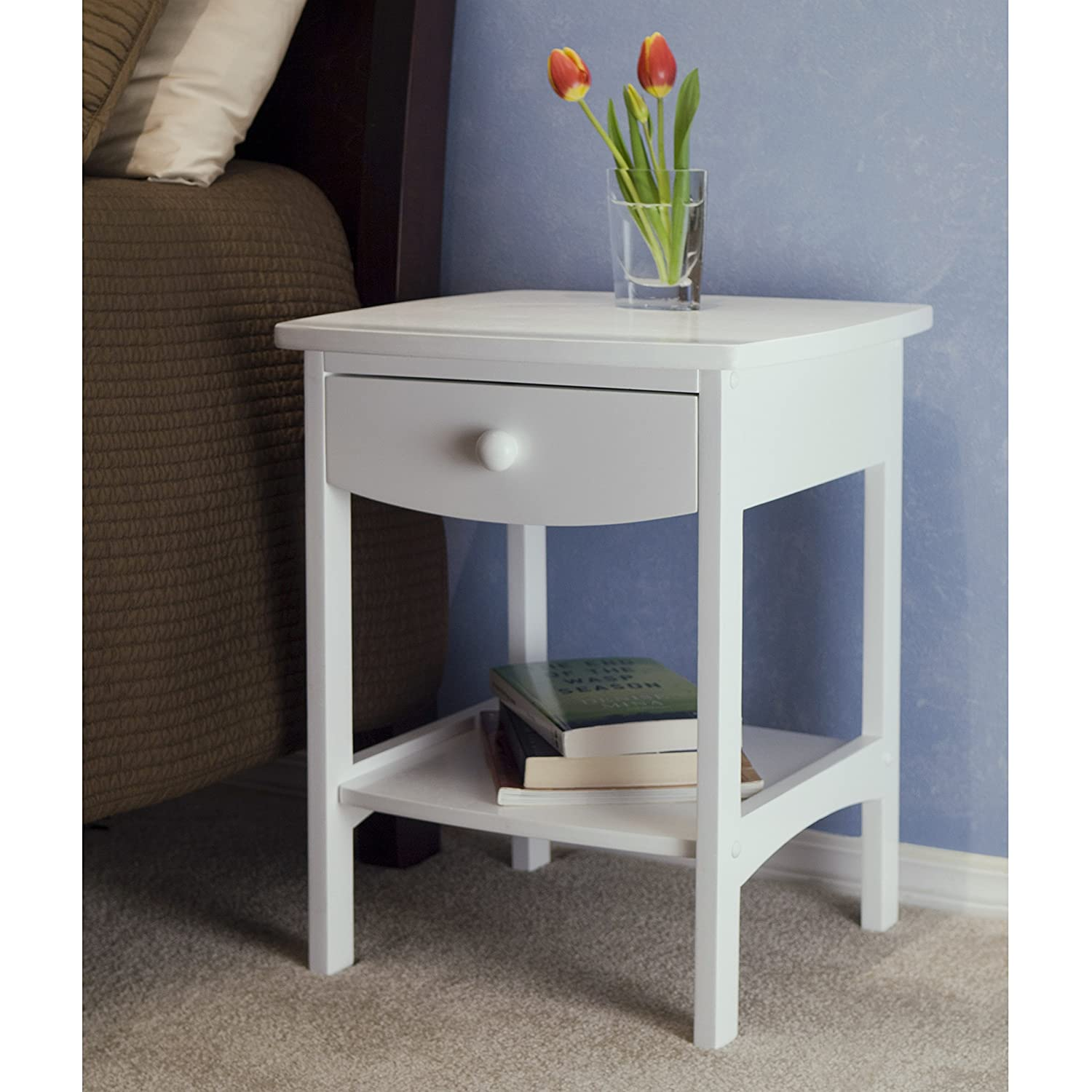 Amazon.com: Winsome Wood End Table/Night Stand With Drawer And Shelf,  White: Kitchen U0026 Dining