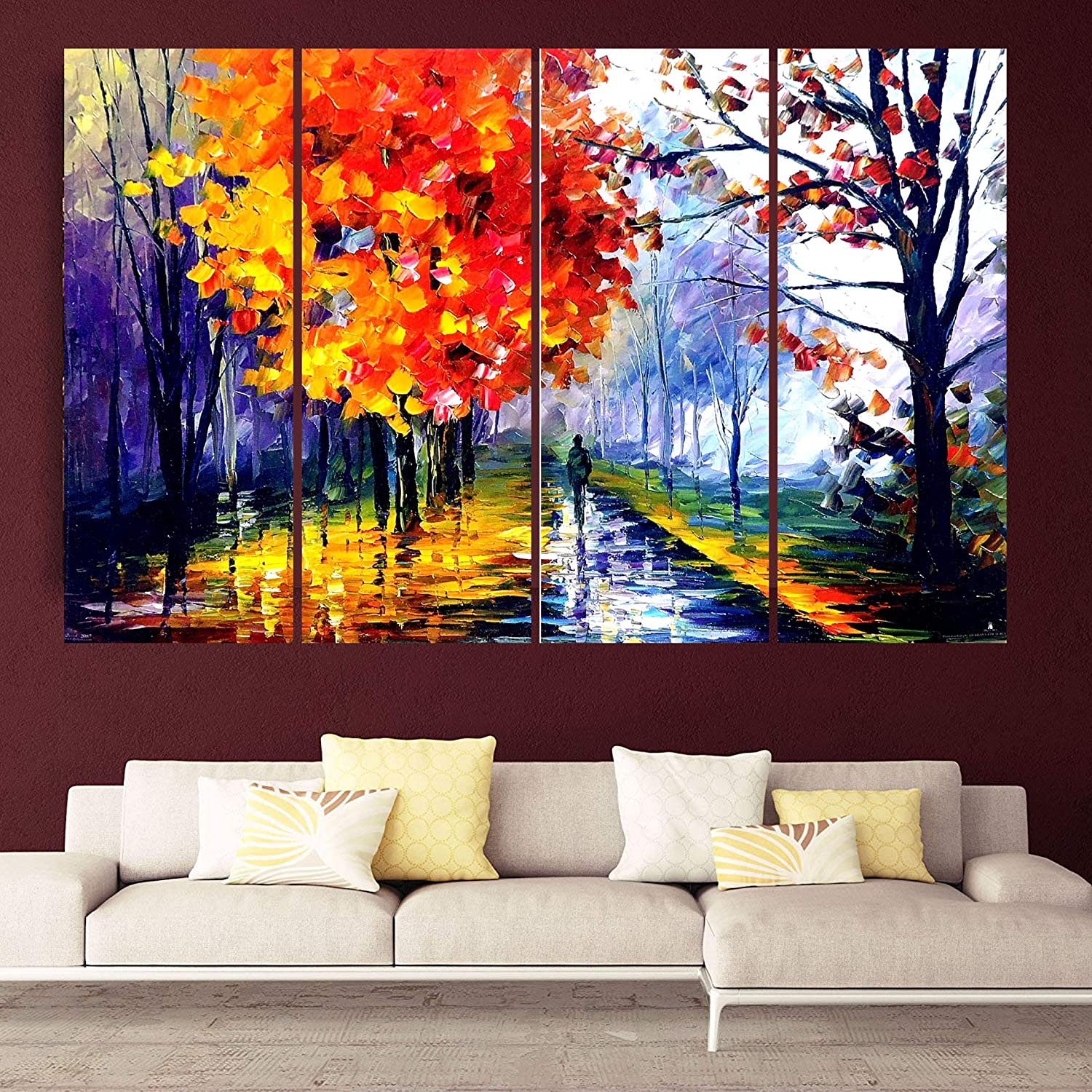 Kyara Arts Multiple Frames Beautiful Modern Art Wall Painting For Living Room Bedroom Office And Hotels Wooden Framed Digital Painting 36inchx24inch Amazon In Home Kitchen