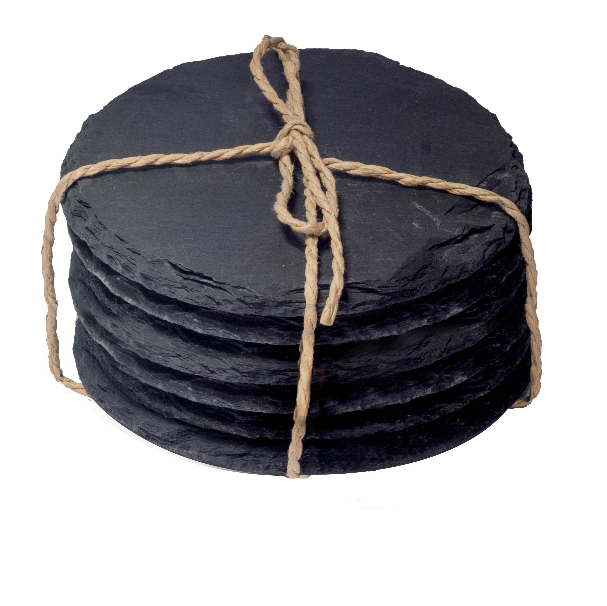 CraftsOfEgypt Slate Coasters - Set of 6 A slate coasters with 4.0 Inches (10 cm) in Diameter Protection from Drink Rings