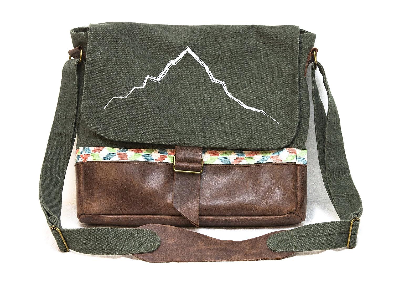 purnaaキャンバス本革メッセンジャーバッグ、倫理的Made、防水 B016SUD0LQ