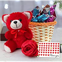 TIED RIBBONS Valentine Day Gift for Boyfriend, Girlfriend, Husband, Wife, Him, Her, Combo Pack (Cute Teddy, Handmade Dark Chocolates, Vase, Rose and Greeting Card)