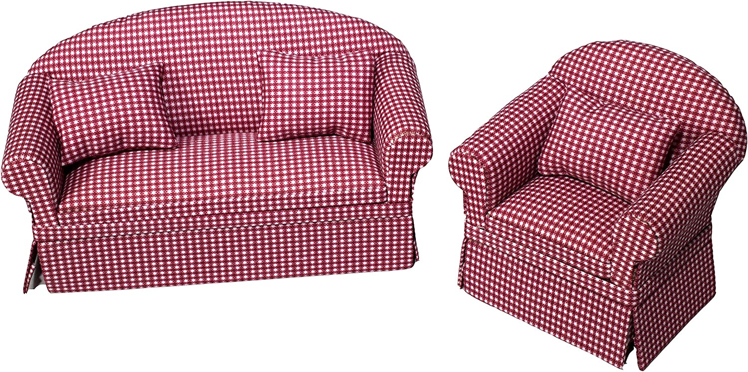 Inusitus Set of Matching Dollhouse Sofa & Armchair | Dolls House Furniture Couch & Chair - Red Checkered - 1/12 Scale (red Check)