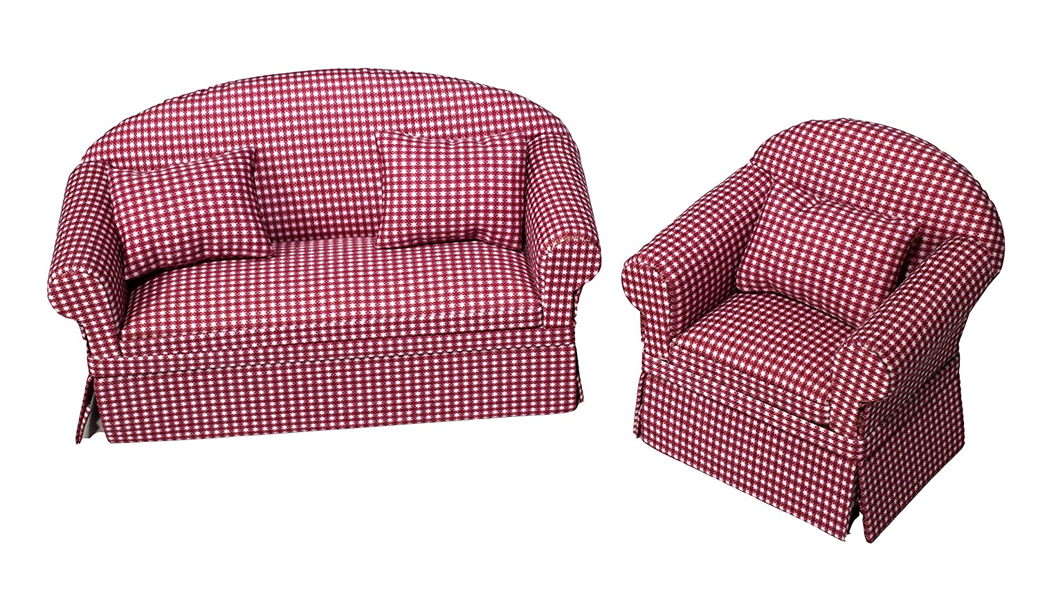 Astounding Inusitus Set Of Matching Dollhouse Sofa Armchair Dolls House Furniture Couch Chair Red Checkered 1 12 Scale Red Check Gmtry Best Dining Table And Chair Ideas Images Gmtryco