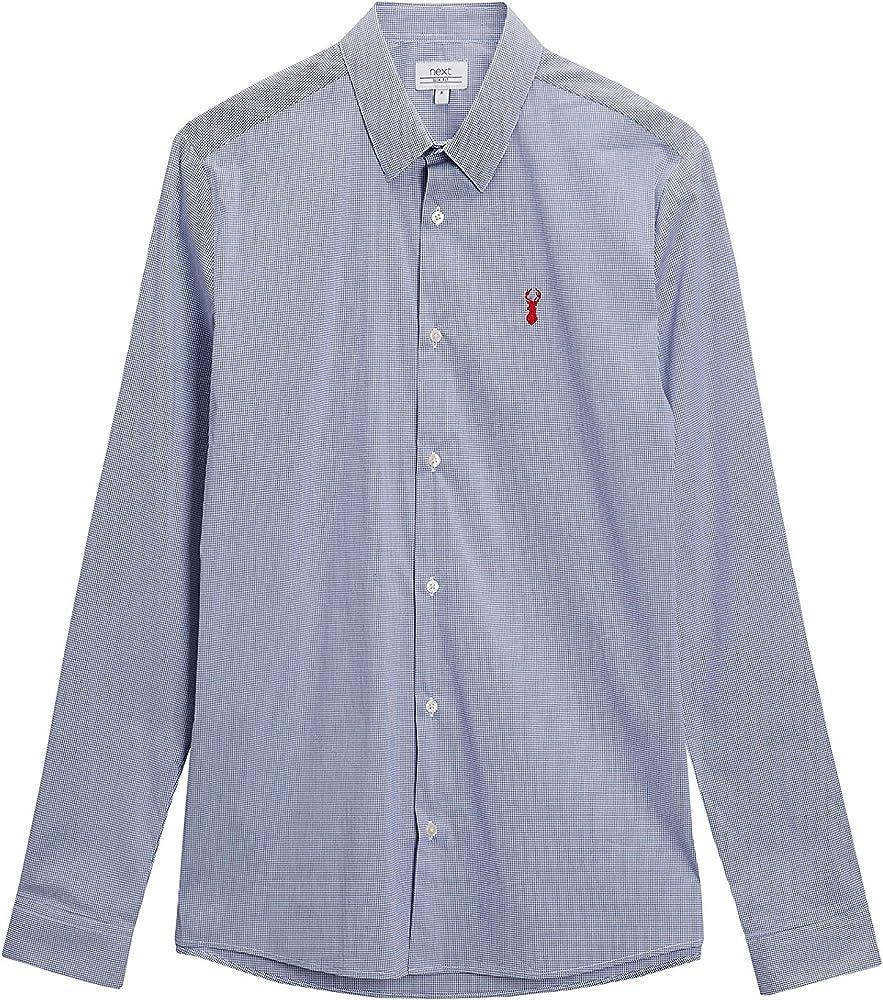 next Hombre Camisa Elástica De Cuadros De Vichy Y Manga Larga Azul/Blanco XXXXL: Amazon.es: Ropa y accesorios