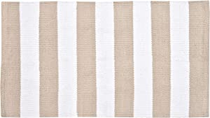 GLAMBURG Cotton Rug Machine Washable, Farmhouse Stripe Reversible Rag Rug 21x34, Rug for Kitchen Carpet Bathroom Outdoor Porch Laundry Living Room, Beige White
