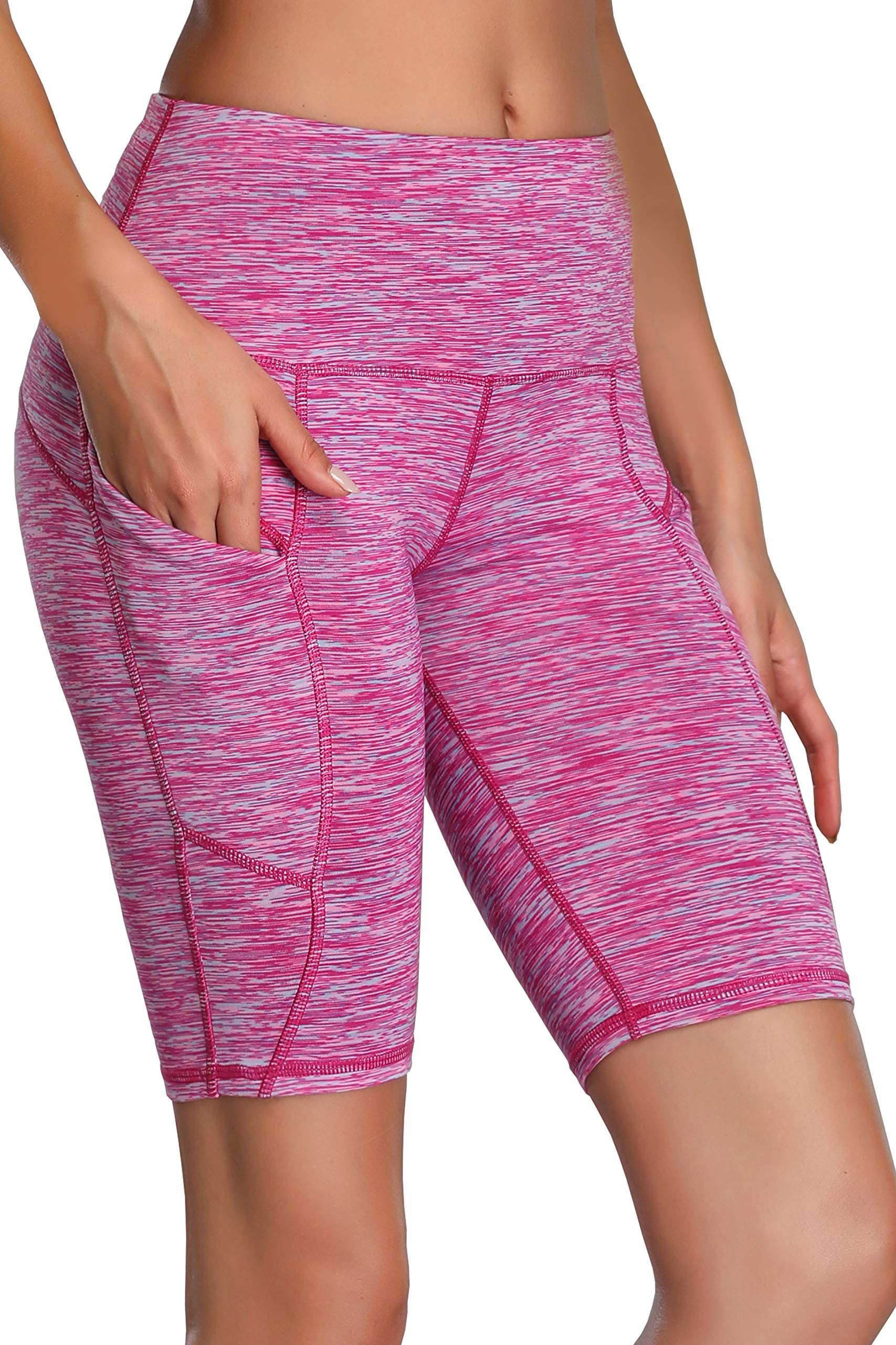 Oalka Women's Yoga Short Side Pockets High Waist Workout Running Shorts Space Dye Camo Pink L by Oalka