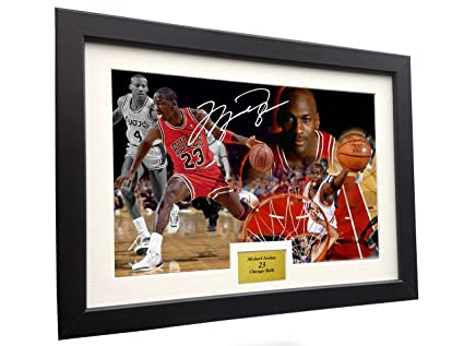"f65bb8d96fc Image Unavailable. Image not available for. Color: Michael Jordan 12x8 A4  Signed""JORDAN CELEBRATION"" Chicago Bulls- Autographed ..."
