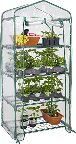 Best Choice Products 4-Tier 27x19x63-inch Mini Greenhouse for Gardens, Patios, and Backyards w Plastic Cover, Roll-Up Zipper Door, Sturdy Steel Shelves, Clear