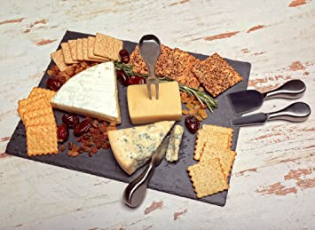 kenley slate cheese board and knife set large 16x12in plate with 4 knives u0026 chalk