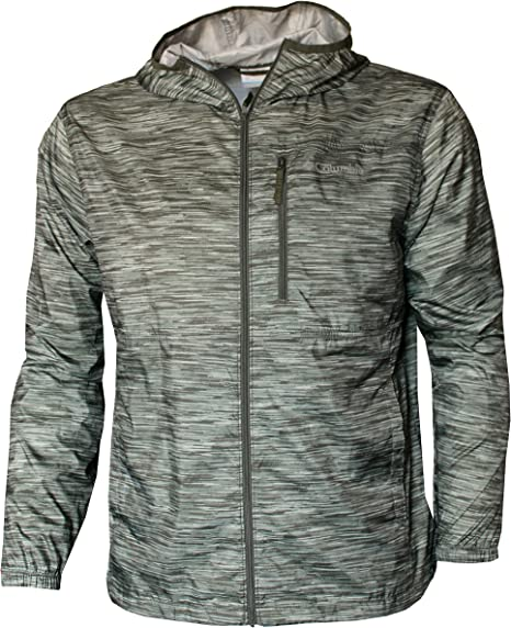 New Columbia Men/'s Morning View Packable Hooded Light Rain Jacket Blue Medium