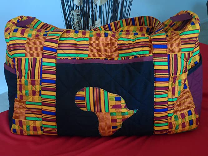 6efb77db9c Amazon.com  Kente African Duffel Travel Bag with Black Wine Pockets Ankara  Bag  Handmade