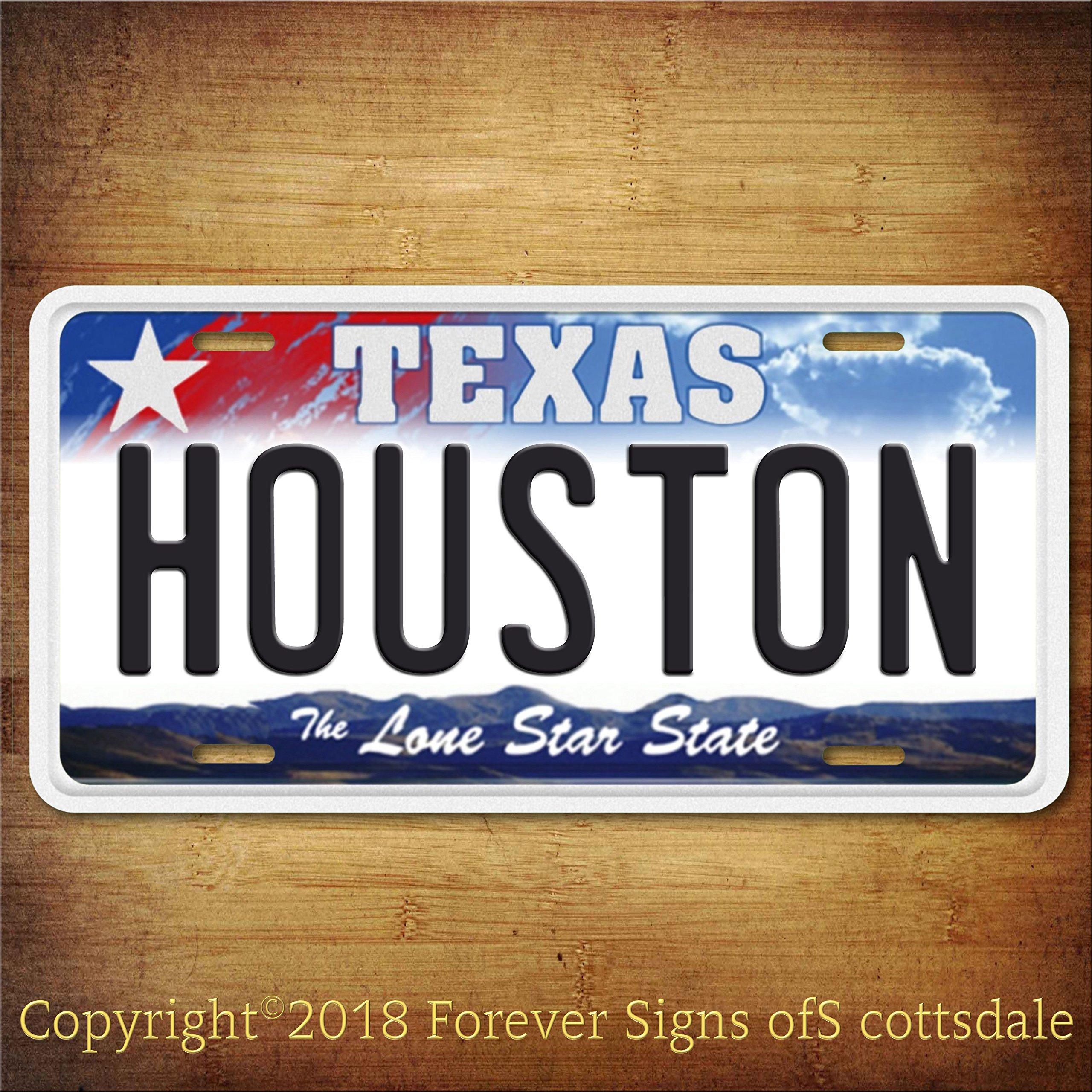 Houston Texas City/College Aluminum Vanity License Plate