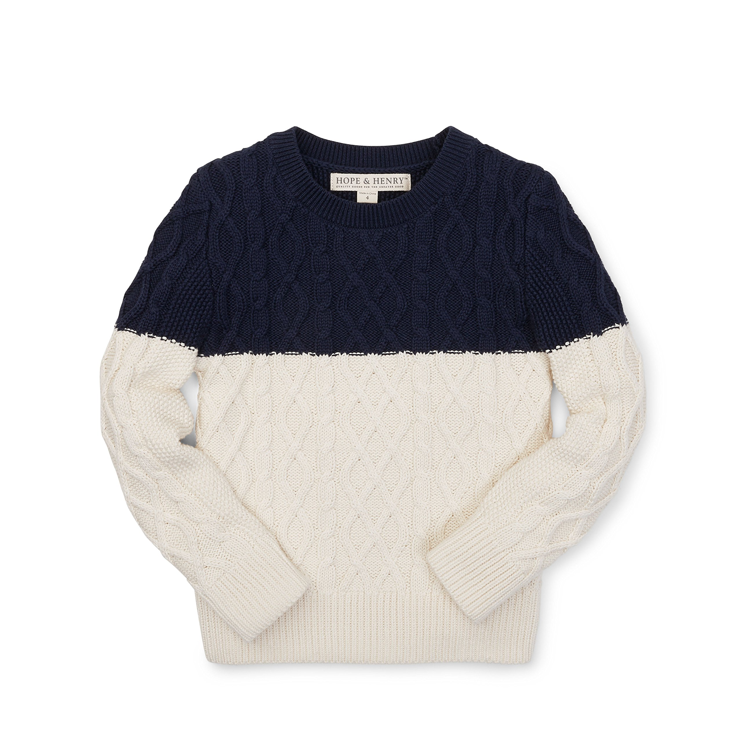 Hope & Henry Boys' Navy/White Colorblock Cable Sweater Made with Organic Cotton
