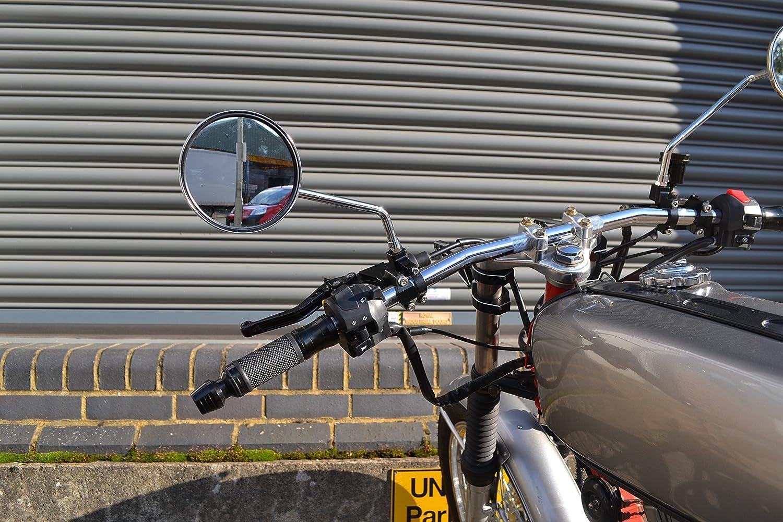 Par Redondo Cromado Ciclomotor Scooter de Espejos 8mm Ajuste Universal