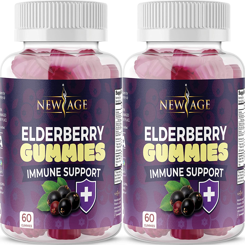 (2-Pack) Organic Elderberry Gummies by New Age for Adults Kids with Vitamin C, Zinc, Propolis - Sambucus Black Elderberry Gummy Extract - Gluten Free & Vegetarian - 120 Gummies