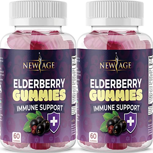 2-Pack Organic Elderberry Gummies by New Age for Adults Kids with Vitamin C, Zinc, Propolis – Sambucus Black Elderberry Gummy Extract – Gluten Free Vegetarian – 120 Gummies
