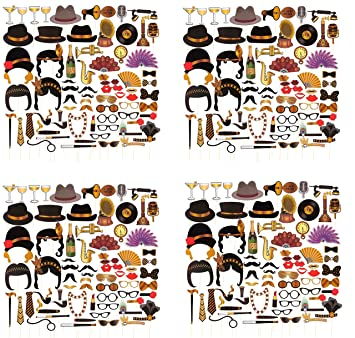 Party Backdrop Decorations 72-Pack Roaring 1920/'s Photo Booth Props