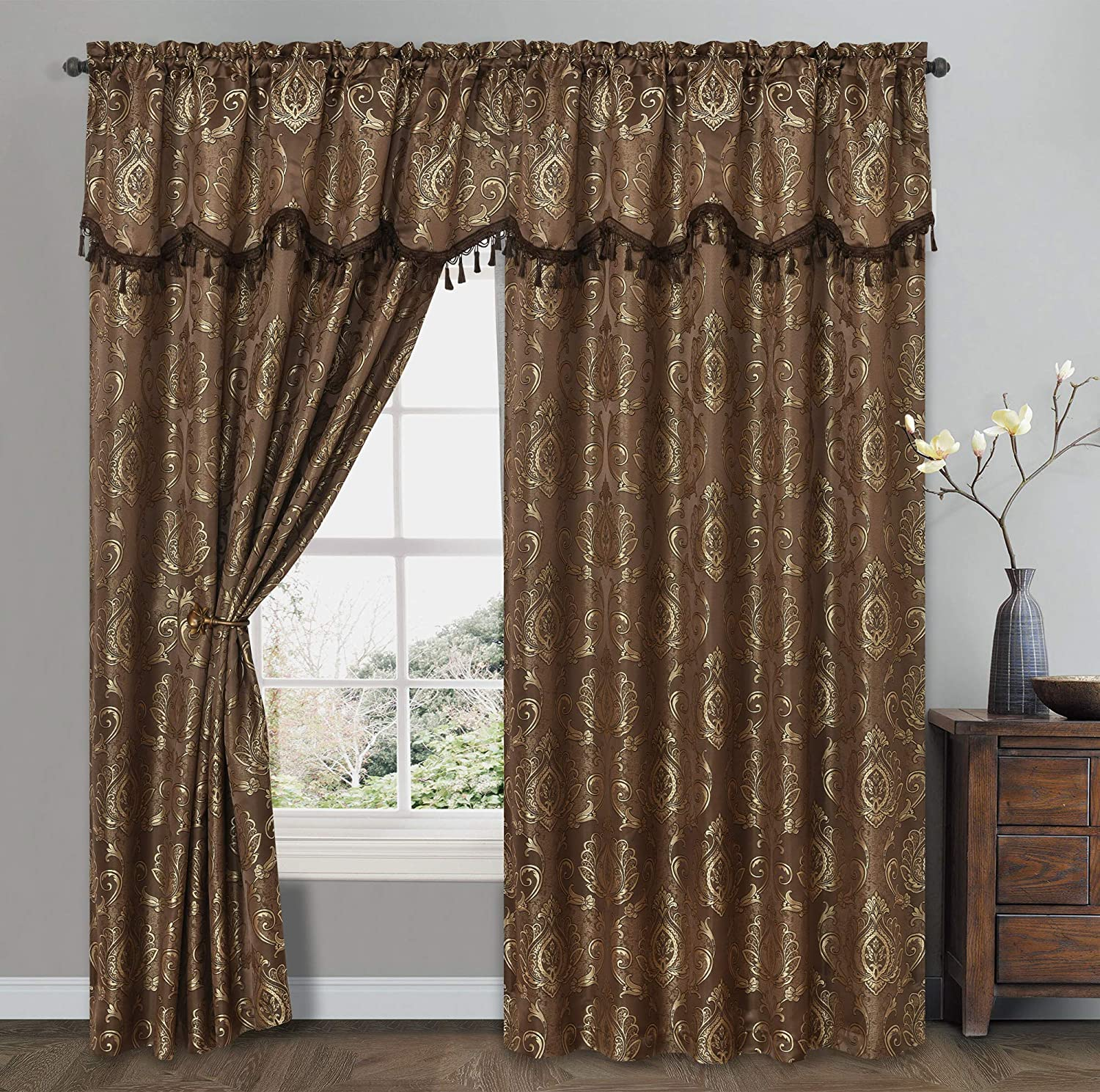 GOHD Golden Ocean Home Decor Simple Classic. Jacquard Window Curtain Panel Drape with Attached Wave Valance. 2pcs Set. Each pc 54 inches Wide x 84 inches Drop with Valance. (Brown)