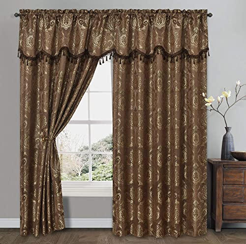 GOHD Golden Ocean Home Decor Simple Classic. Jacquard Window Curtain Panel Drape with Attached Wave Valance. 2pcs Set. Each pc 54 inches Wide x 84 inches Drop with Valance. Brown
