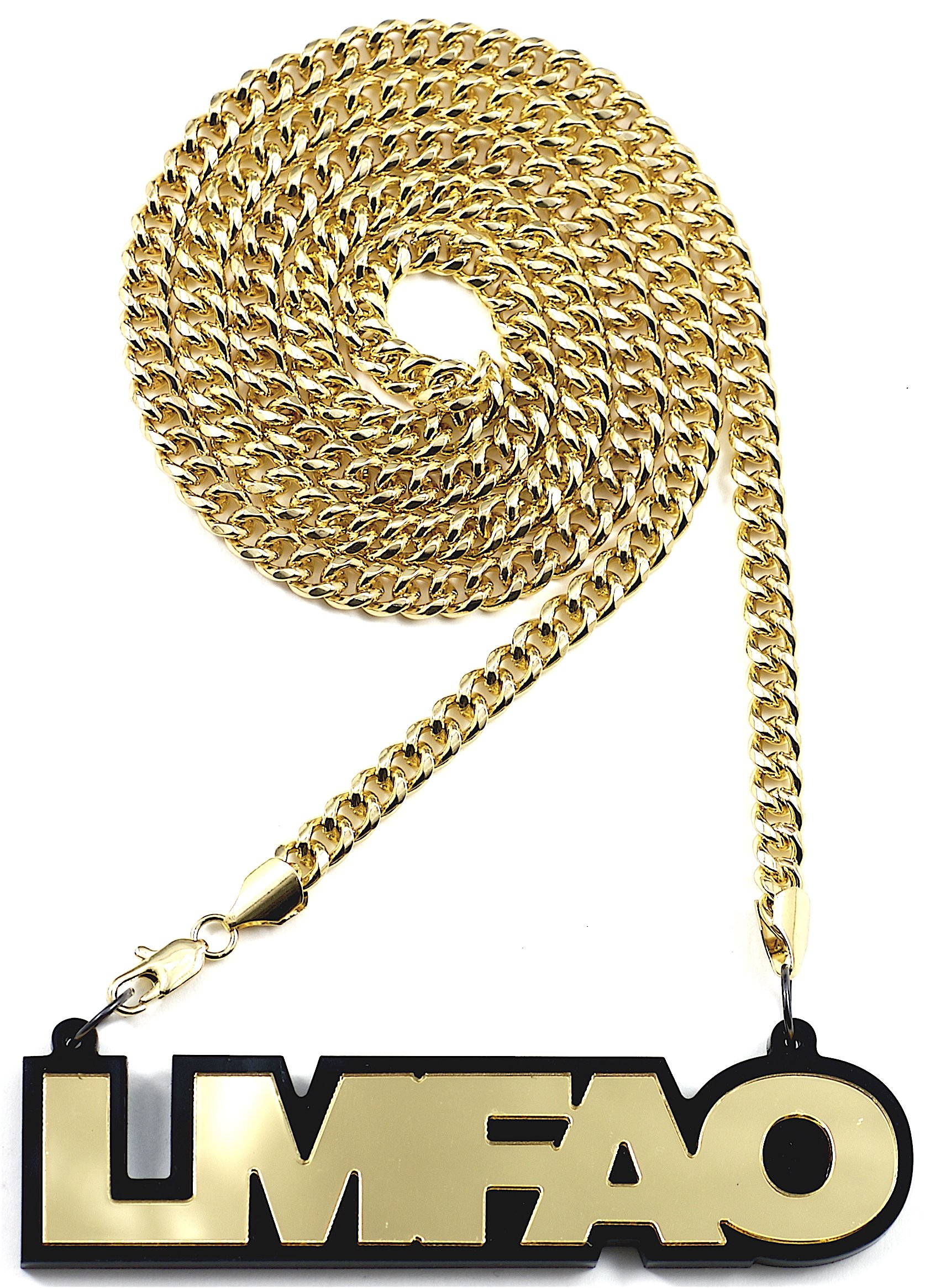 GWOOD LMFAO Acrylic Pendant with Gold Color 36 Inch Necklace