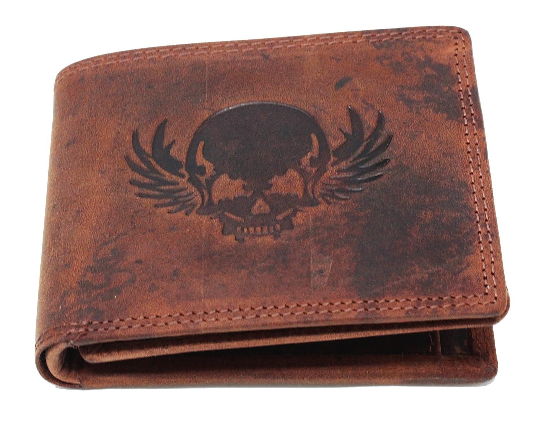 Frédéric& Johns® - Portefeuille Biker tête de mort - pour homme, en cuir véritable - portefeuille motard - facile à glisser dans la poche - portefeuille skull - format paysage