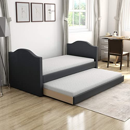 Boyd Sleep Umbria Upholstered Platform Daybed and Pull Out Guest Trundle Bed Frame Mattress Foundation
