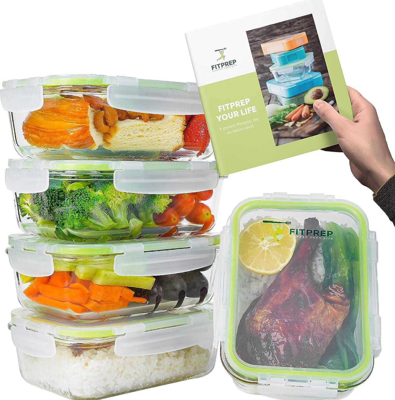 Meal Prep Glas 5er Set klick-It Dosen mit Deckel Home Planet/® Glas-Frischhaltedosen 840ml Glasbeh/älter mit Deckel Silikon Dichtungsring