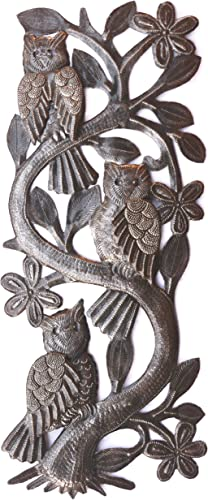Three Owls, Metal Wall from Haiti, Artistic Quality Designs, Outdoor Living Area 7 x 18 Inches
