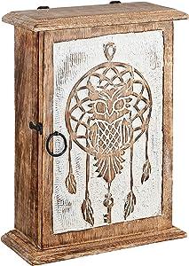 Wooden Key Holder - Owl Designer Key Box - Wall Mount Wooden Key Holder for Wall Decorative - Key Box Cabinet - Farmhouse Wood Key Organizer - Cabinet Storage for Keys - Home Office Living Room Decor