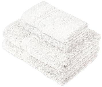Pinzon by Amazon - Juego de toallas de algodón egipcio (2 toallas de baño y 2 toallas de manos), color blanco: Amazon.es: Hogar