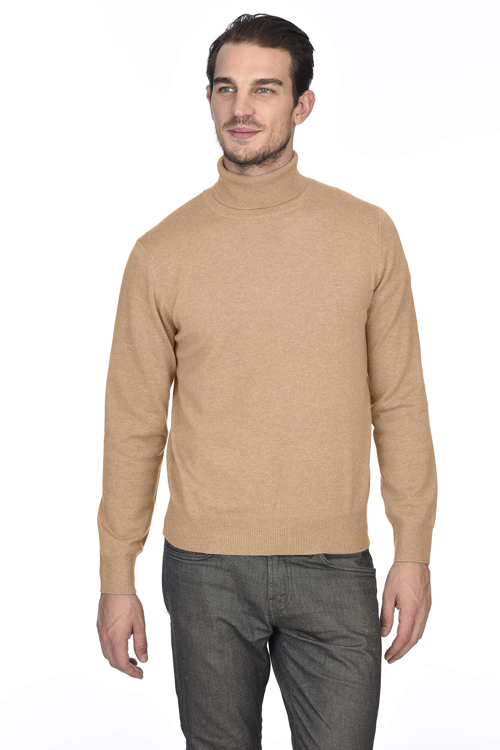 State Cashmere Men's 100% Pure Cashmere Turtleneck Long Sleeve Pullover Sweater (XX-Large, Camel)
