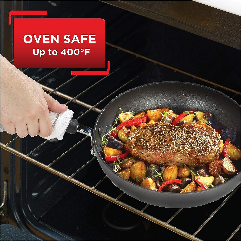 T-fal E918SE Ultimate Hard Anodized Nonstick 14 Piece Cookware Set Dishwasher Safe Pots and Pans Set Black