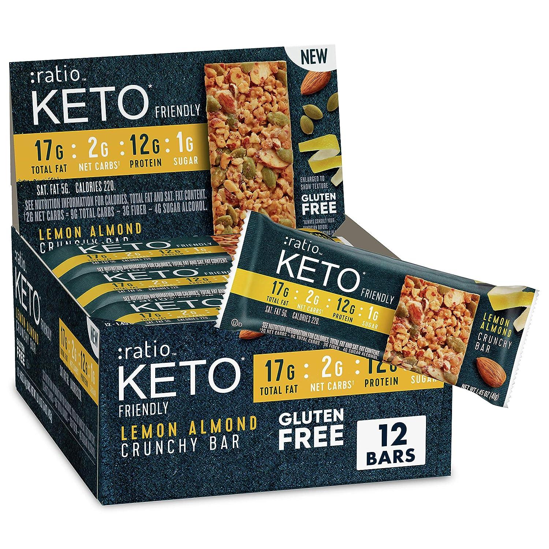 :ratio KETO friendly Lemon Almond Crunchy Bar, Gluten Free, 12 ct Box