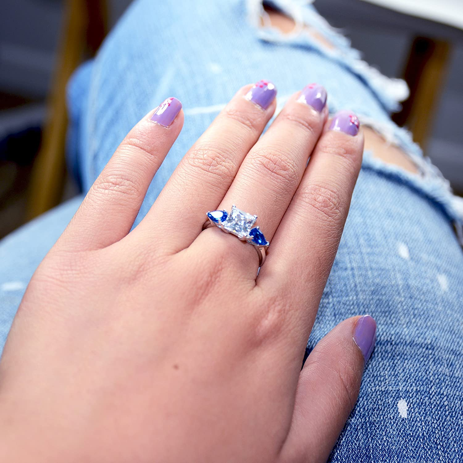 Amazon.com: 2Carat Princess Cut Simulated Diamond, Blue Pear ...