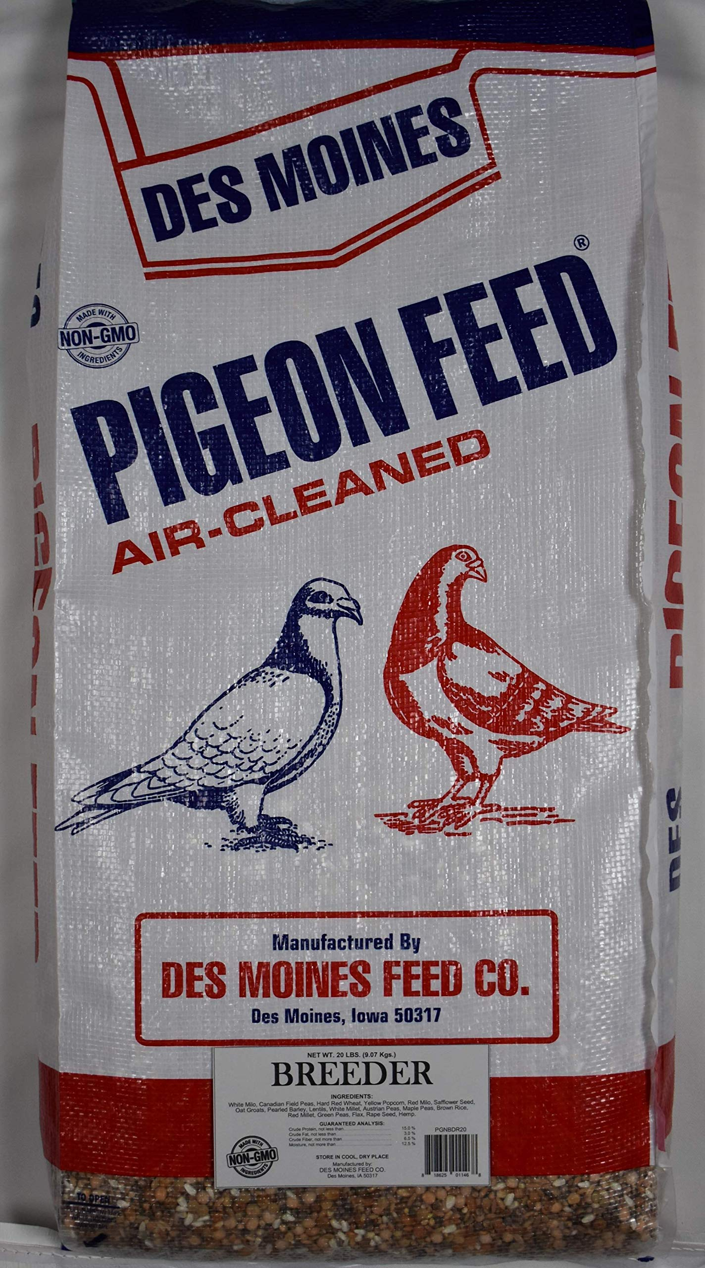 Breeder Pigeon Mix (15%) 20 lbs by Des Moines Pigeon Feed