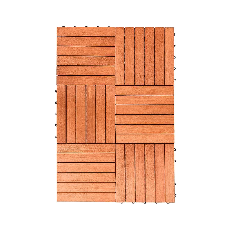 Amazon Vifah V169 Fsc Eucalyptus Six Slat Deck Tiles 10 Pack