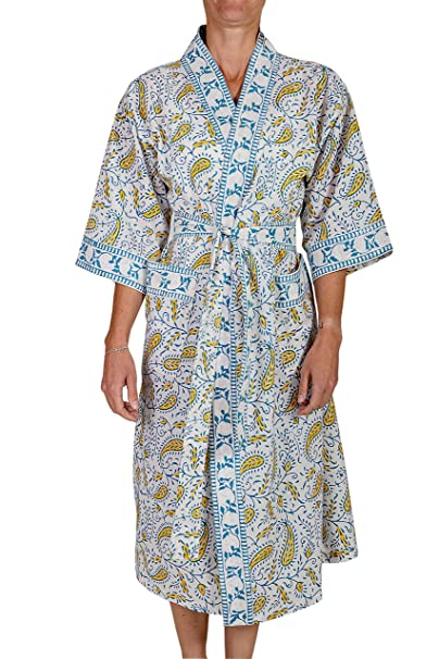 Women s Cotton Printed Floral Paisley Lightweight Kimono Robe Bathrobe  (Blue) at Amazon Women s Clothing store  94c839ac9
