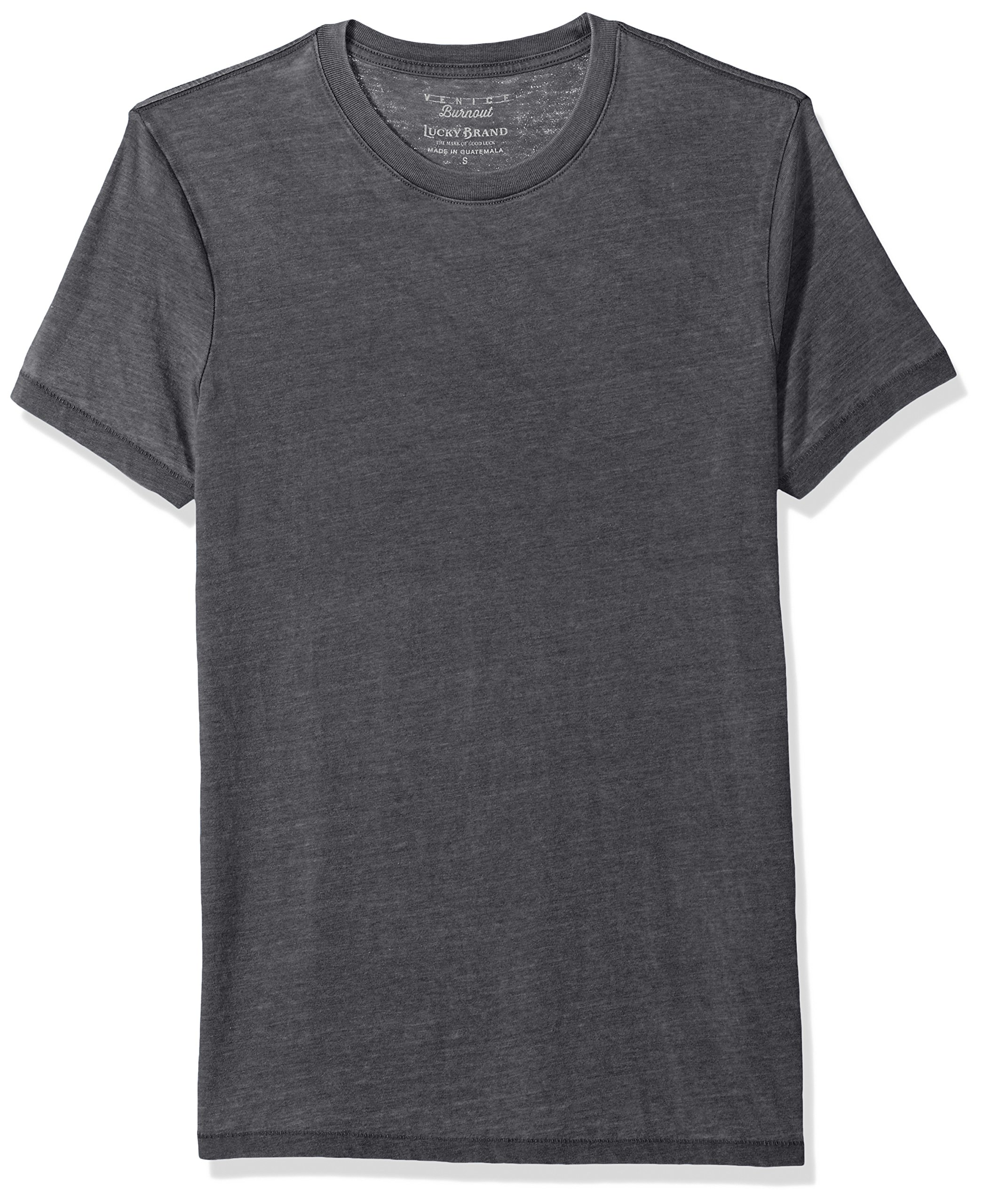Lucky Brand Men's Venice Burnout Crew Neck Tee Shirt, Jet Black, M