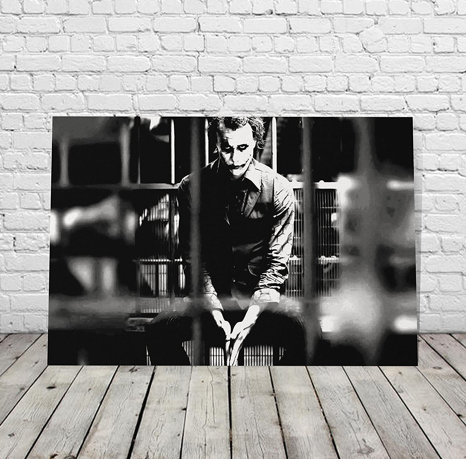 Heath ledger joker in jail black and white wall art canvas print wall art decorative modern home decor poster artwork framed and stretched ready to hang
