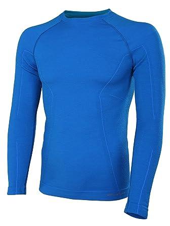BRUBECK® ACTIVE WOOL Hombres Camiseta de manga larga (41% Lana Merino Hipoalergénico Antibacteriano