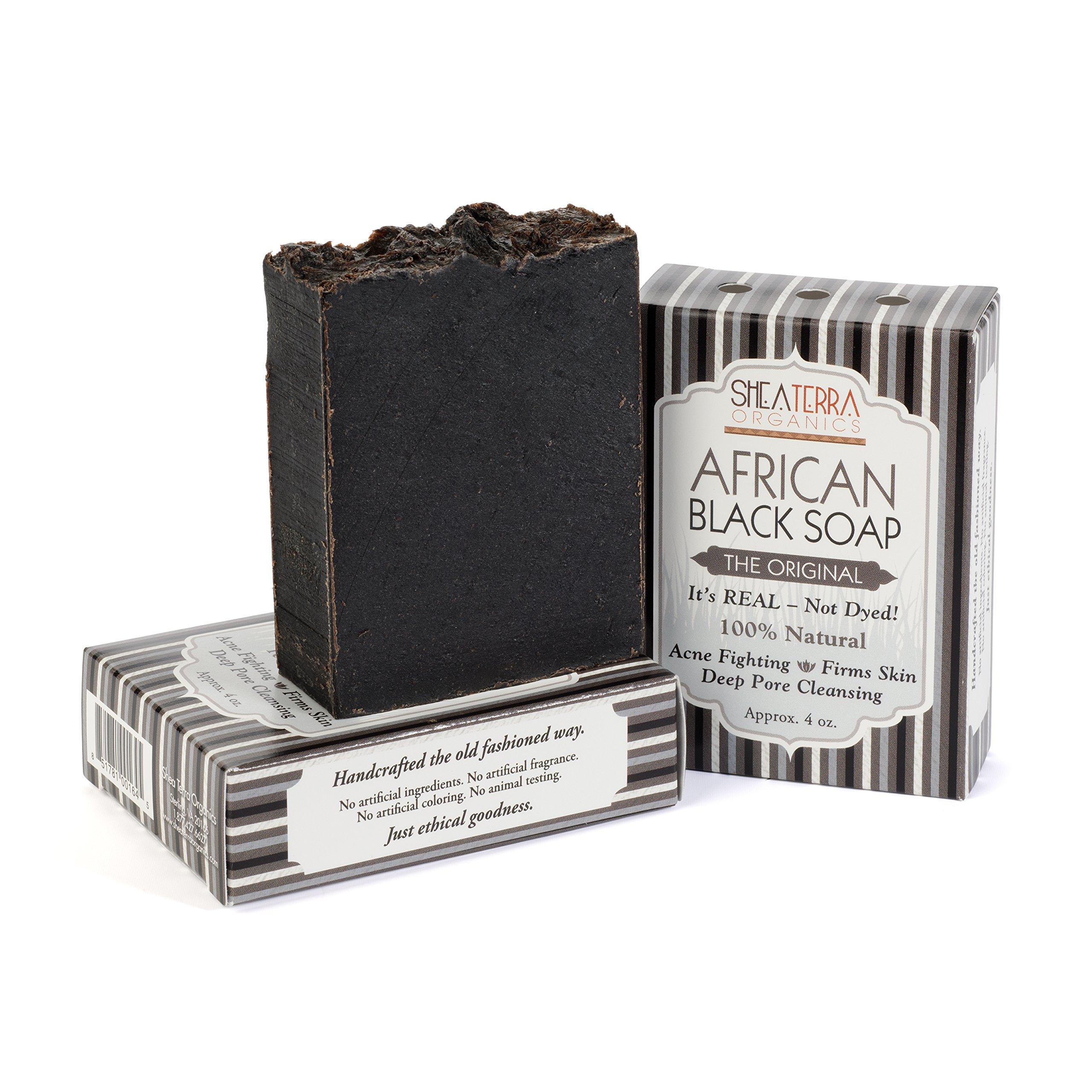 Shea Terra Organics African Black Soap Bar – The Original Yoruban Soap | Natural Skin Care for Acne, Eczema, Dry Skin, Psoriasis, Wrinkles, and More - Home Spa Treatment Full Body Wash - 4 oz