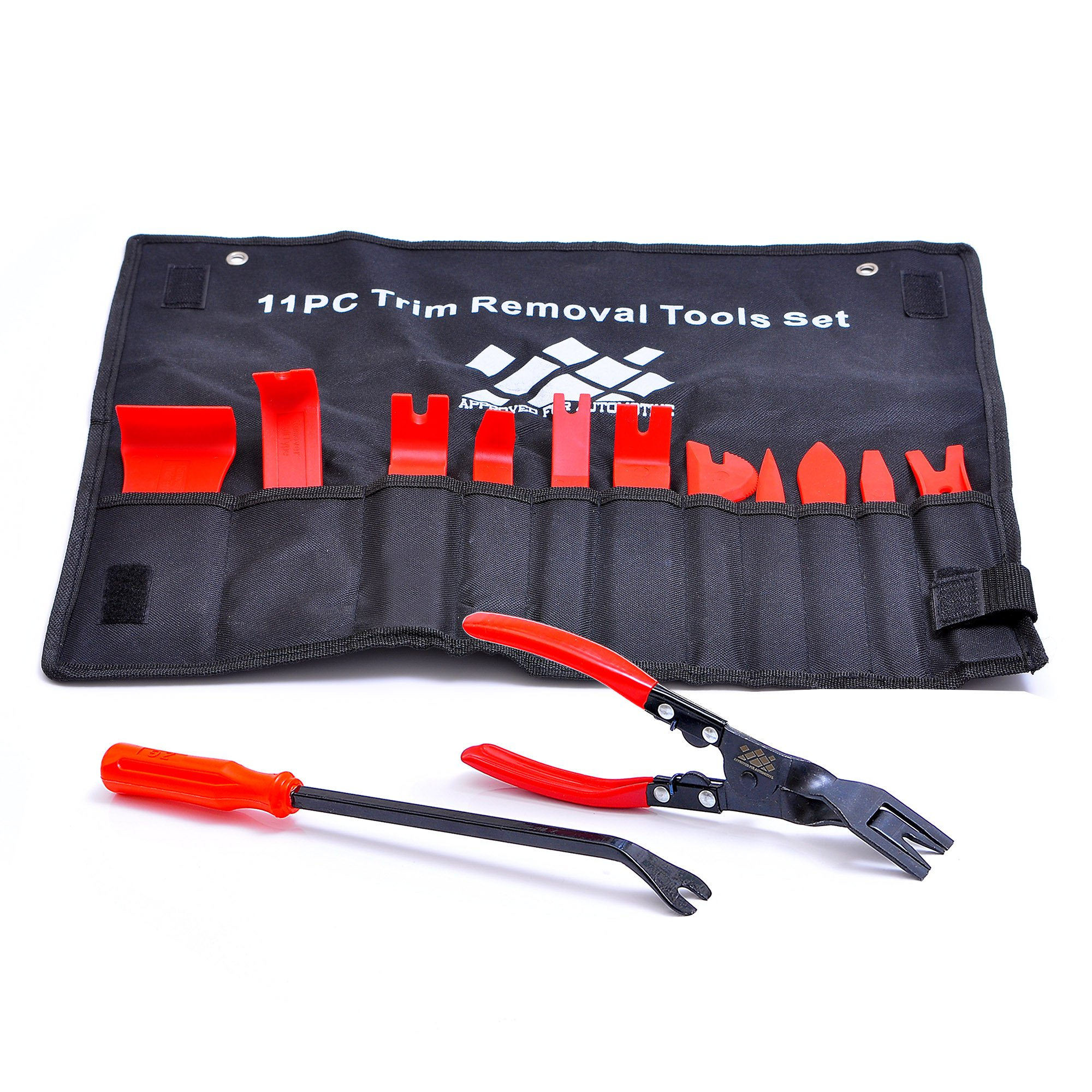 AFA Tooling [13 Pcs] Auto Upholstery Tools - Strong Nylon Won't Break Like ABS - Bonus Clip Pliers & Fastener Remover