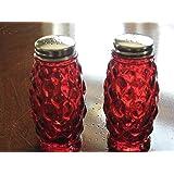 Ruby Red Glass Elizabeth Salt and Pepper Shaker Set