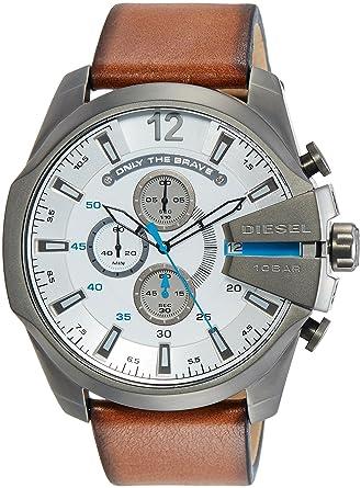 ba92f4552 Amazon.com: Diesel Men's DZ4280 Mega Chief Gunmetal Brown Leather Watch:  Diesel: Watches