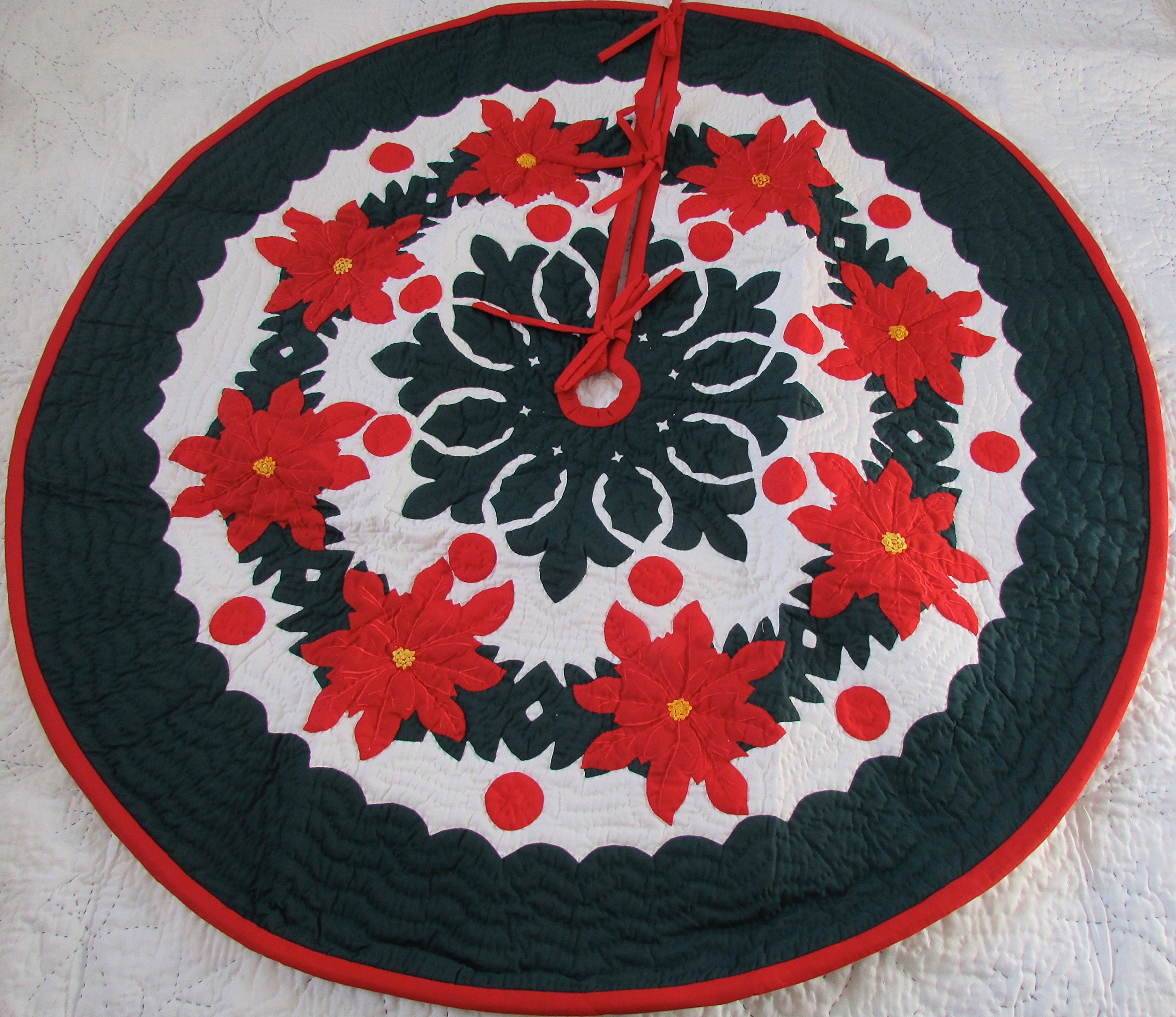 Hawaiian quilt 100% hand quilted/hand appliqued Christmas tree skirt 60''