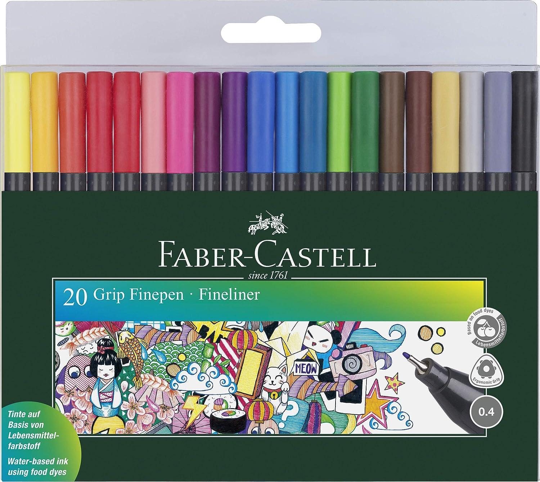 ROTULADOR Fibra Faber Castell Grip FINEPEN 1516 Estuche de 20: Amazon.es: Oficina y papelería